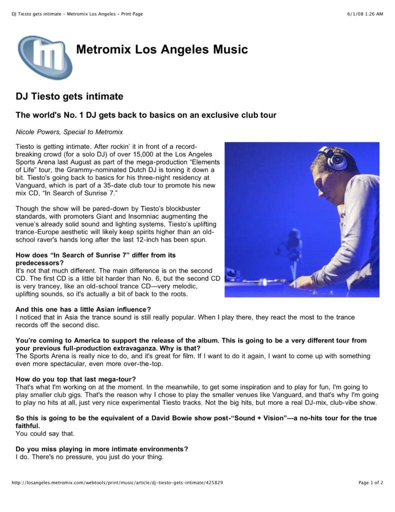 Metromix: DJ Tiesto Gets Intimate