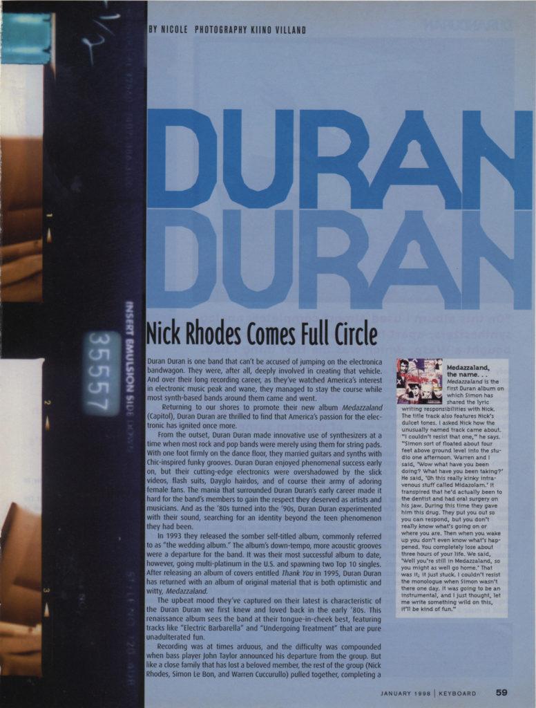 Keyboard Magazine: Duran Duran — Nick Rhodes Comes Full Circle (2 of 6)