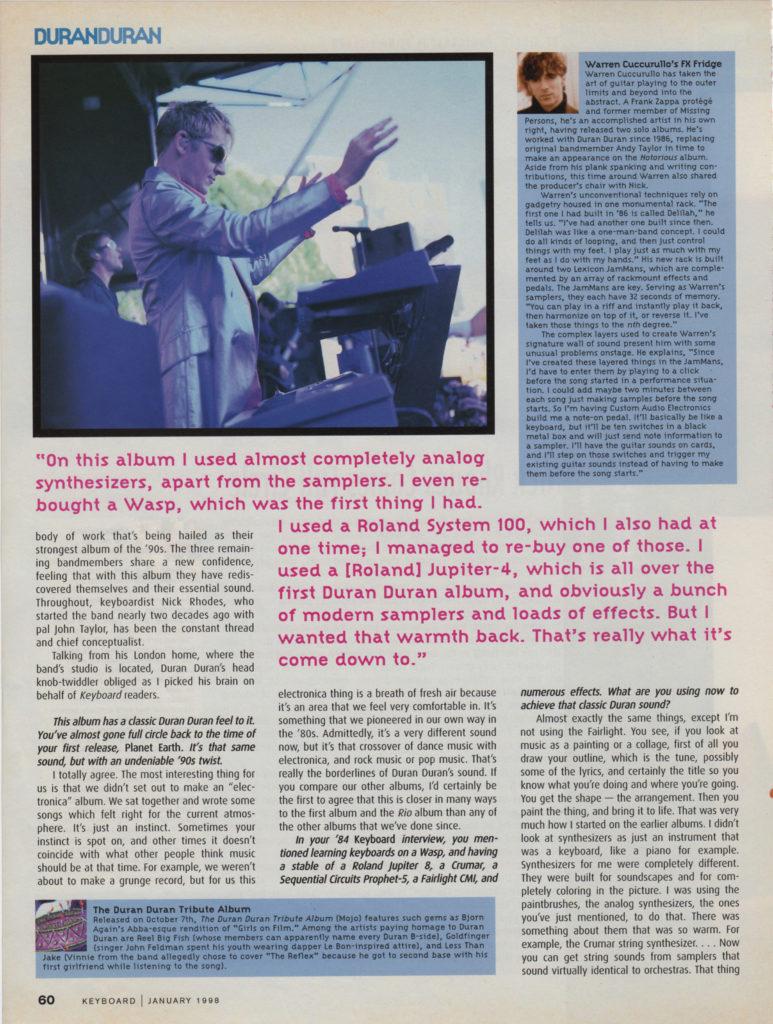 Keyboard Magazine: Duran Duran — Nick Rhodes Comes Full Circle (4 of 6)