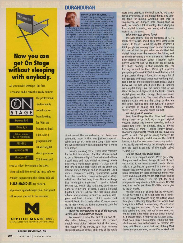 Keyboard Magazine: Duran Duran — Nick Rhodes Comes Full Circle (5 of 6)