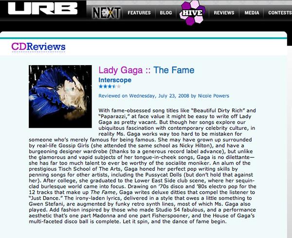URB Magazine: Lady Gaga — The Fame