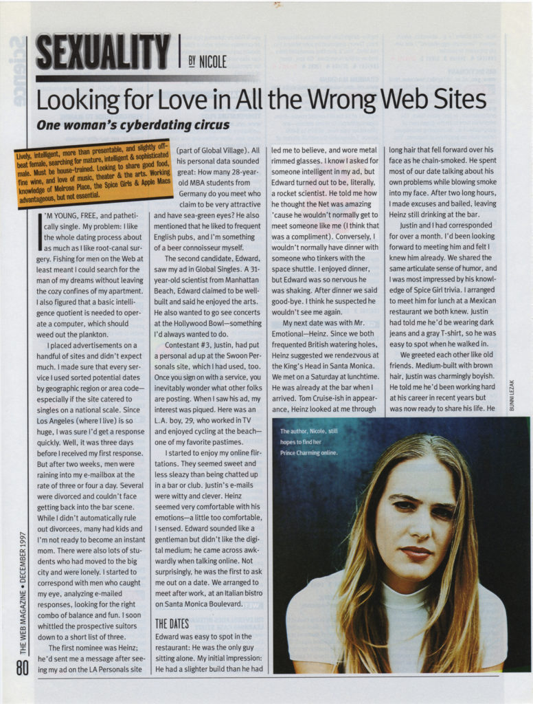 Web Magazine: Looking For Love On All The Wrong Websites
