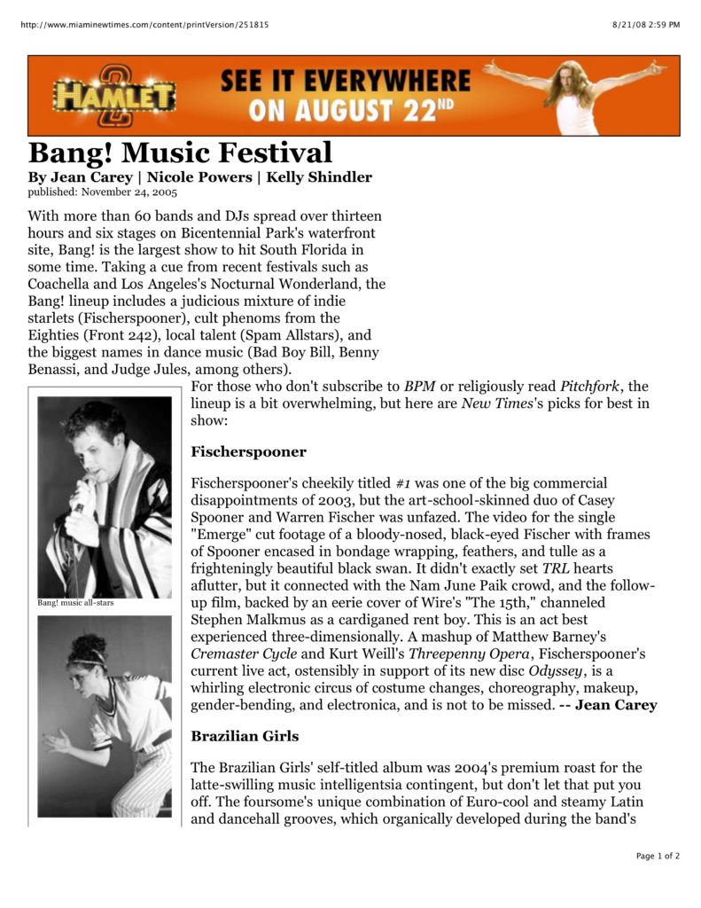 Miami New Times: Bang! Music Festival